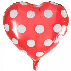 18 сердце красное белые точки