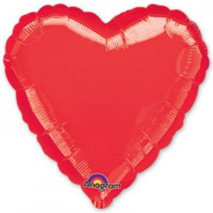 18''сердце красное металлик
