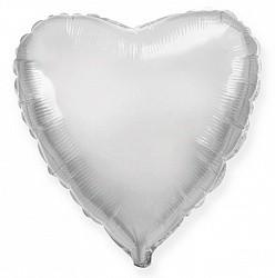 18 шар сердце серебро