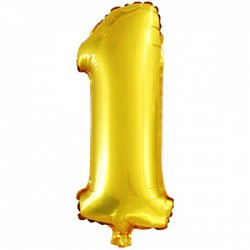 фольга цифра 1 16'' золото