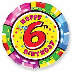 18'' круг happy birthday 6 лет