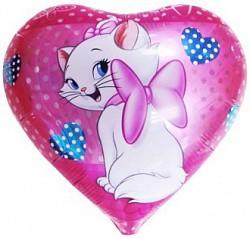 18'' сердце кошка с бантом