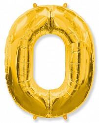 Шар (40''/102 см) Цифра, 0, Золото, 1 шт.