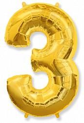 Шар (40''/102 см) Цифра, 3, Золото, 1 шт.