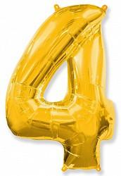Шар (40''/102 см) Цифра, 4, Золото, 1 шт.