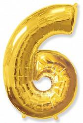 Шар (40''/102 см) Цифра, 6, Золото, 1 шт.