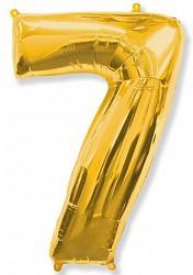 Шар (40''/102 см) Цифра, 7, Золото, 1 шт.