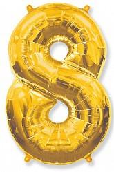Шар (40''/102 см) Цифра, 8, Золото, 1 шт.