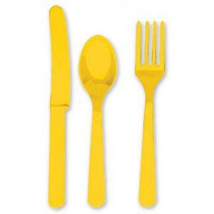 набор столовые приборы желтый