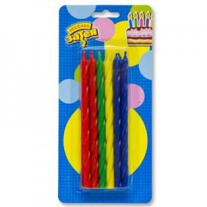 свечи для торта 12 шт спираль мульти