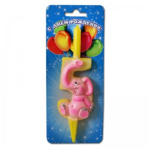 свеча цифра-зверюшки 5 слоник