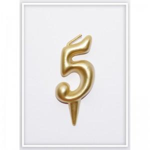 свеча цифра 5 золотая