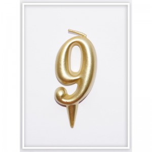 свеча цифра 9 золотая