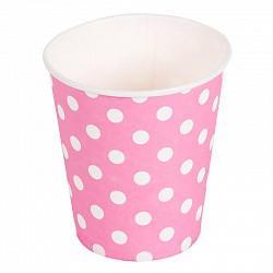 стаканы в горошек розовые