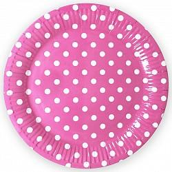 тарелки розовые горошек 22см