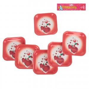 тарелка квадрат сердце с розой 6шт